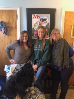 Dr. Lisa Day, Abigail Rhiannon Cain, Jennifer White, and Scout the Feminist Dog